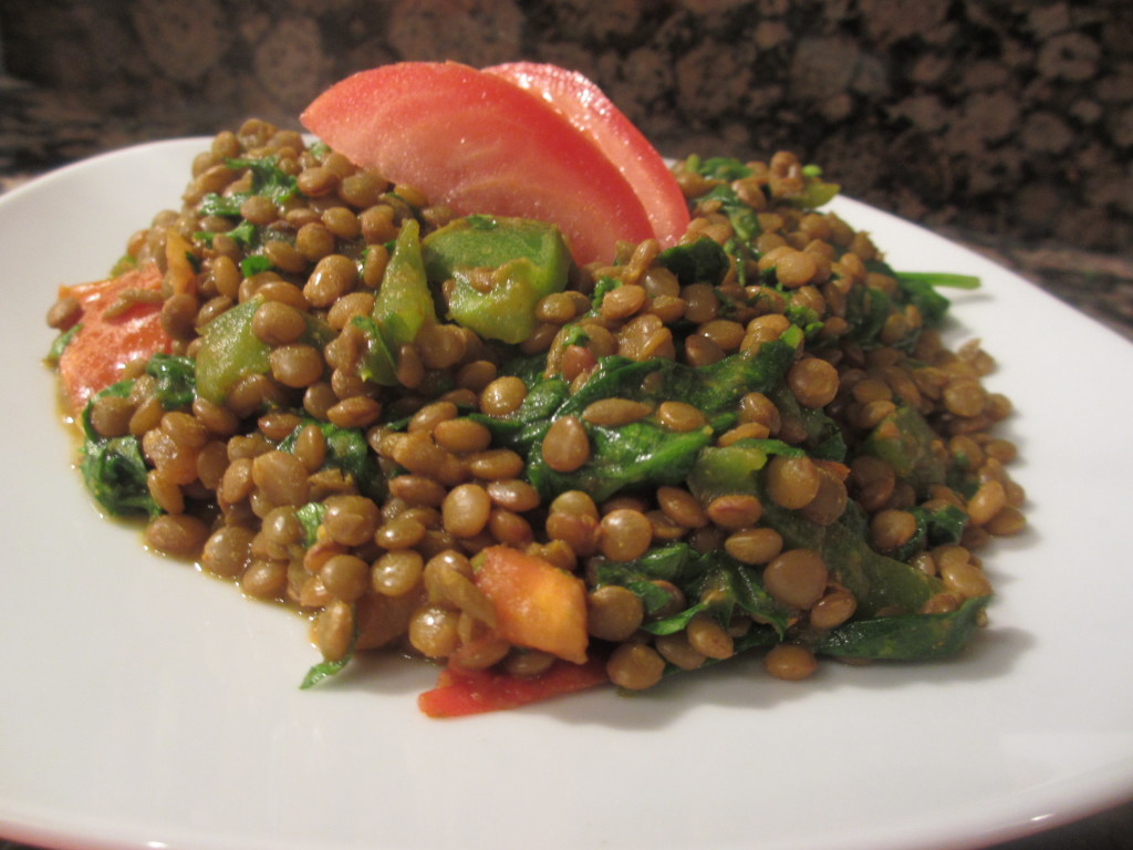 Green lentils and spinach