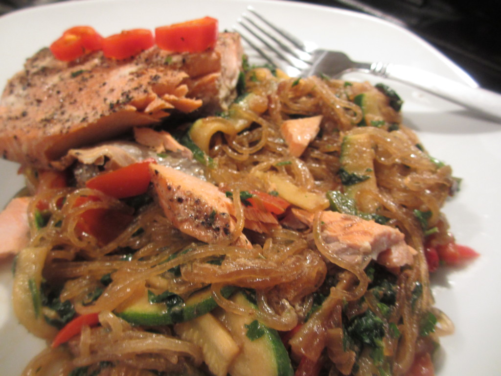 Salmon and mung bean noodles
