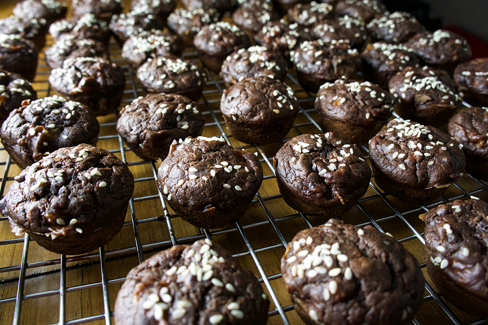 Closeup of Sesame Chocolate Banana Muffins